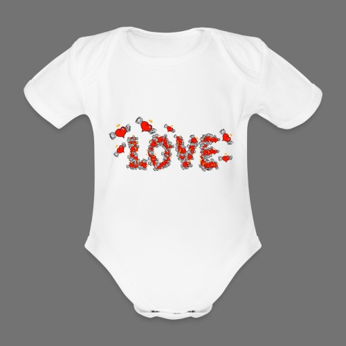 Flying Hearts LOVE - Vauvan lyhythihainen luomu-body