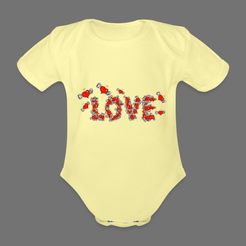 Flying Hearts LOVE - Organic Short-sleeved Baby Bodysuit