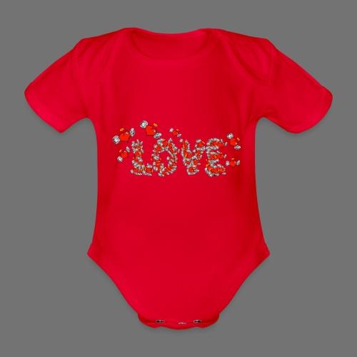 Flying Hearts LOVE - Kortærmet babybody, økologisk bomuld