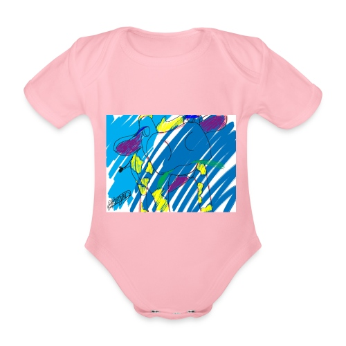 Signed Rainbow Cow - Organic Short-sleeved Baby Bodysuit