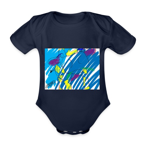 Signed Rainbow Cow - Organic Short-sleeved Baby Bodysuit