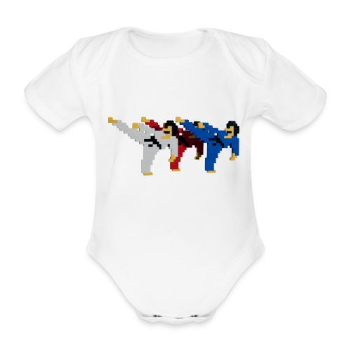 8 bit trip ninjas 2 - Organic Short-sleeved Baby Bodysuit