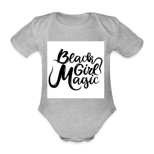 Black Girl Magic 1 Black Text - Organic Short-sleeved Baby Bodysuit