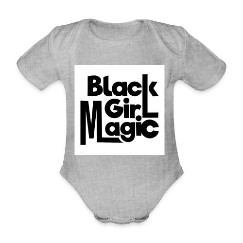 Black Girl Magic 2 Black Text - Organic Short-sleeved Baby Bodysuit
