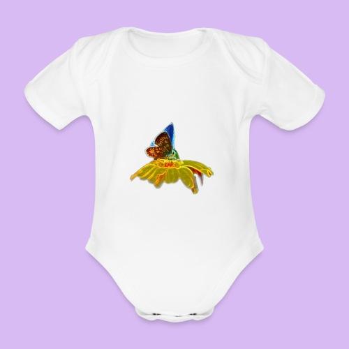 Farfalla su corolla - Body ecologico per neonato a manica corta