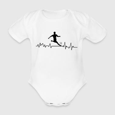 Heartbeat fotballspiller t-skjorte gave ball - Økologisk kortermet baby-body
