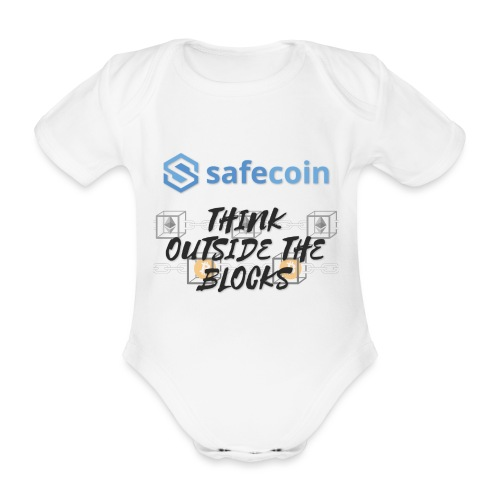 SafeCoin; Think Outside the Blocks (black + blue) - Organic Short-sleeved Baby Bodysuit