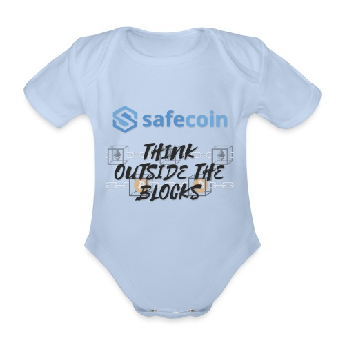 SafeCoin; Think Outside the Blocks (black + blue) - Organic Short-sleeved Baby Bodysuit