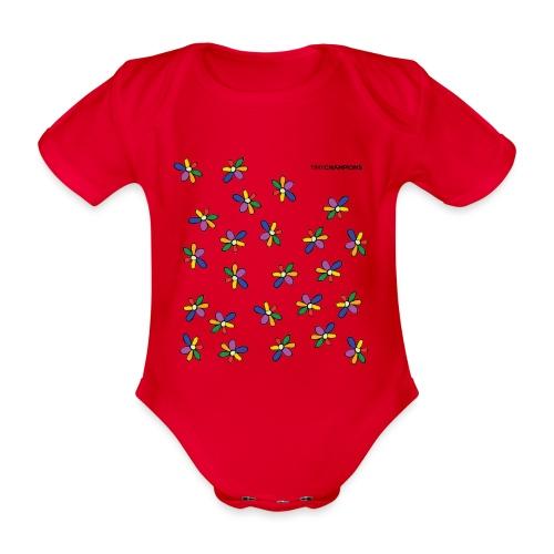 colour flower design tc - Organic Short-sleeved Baby Bodysuit