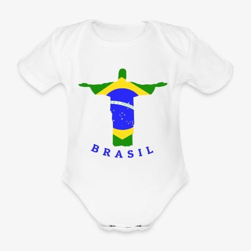 Brasil Flag Statue - Baby Bio-Kurzarm-Body