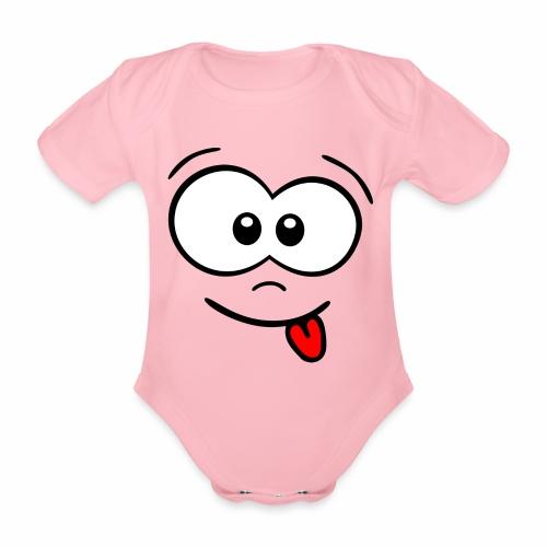 Gesicht Zunge rausstrecken - Baby Bio-Kurzarm-Body
