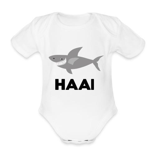 haai hallo hoi - Baby bio-rompertje met korte mouwen