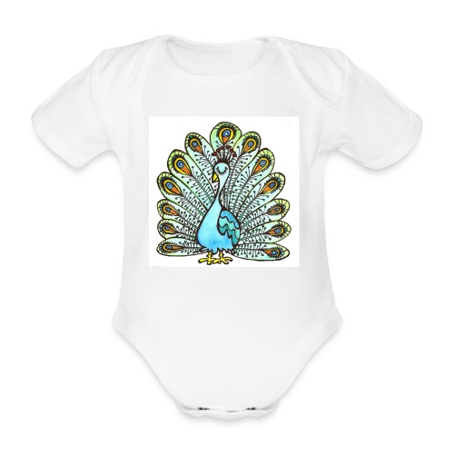 PEACOCK - Kortærmet babybody, økologisk bomuld