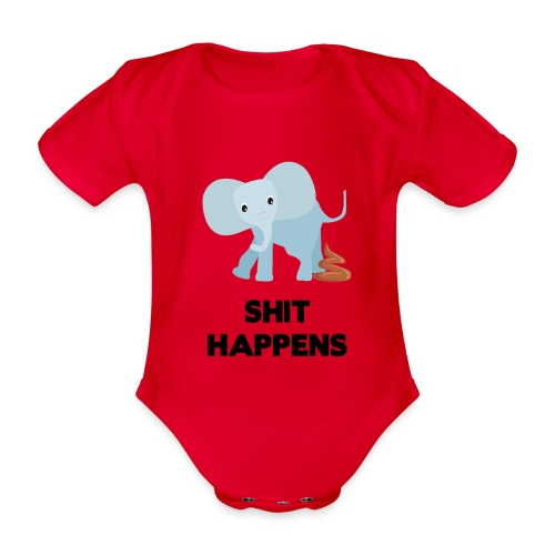 olifant met drol shit happens poep schaamte - Baby bio-rompertje met korte mouwen