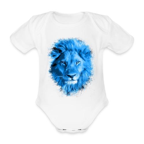 Löwe blau - Baby Bio-Kurzarm-Body