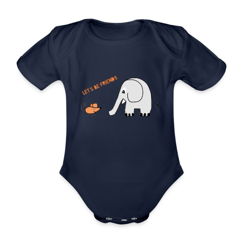 Elephant and mouse, friends - Organic Short-sleeved Baby Bodysuit