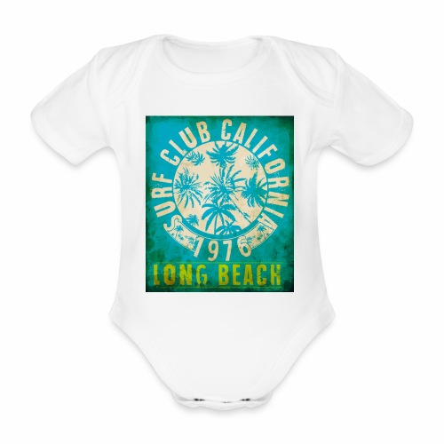 Long Beach Surf Club California 1976 Gift Idea - Organic Short-sleeved Baby Bodysuit