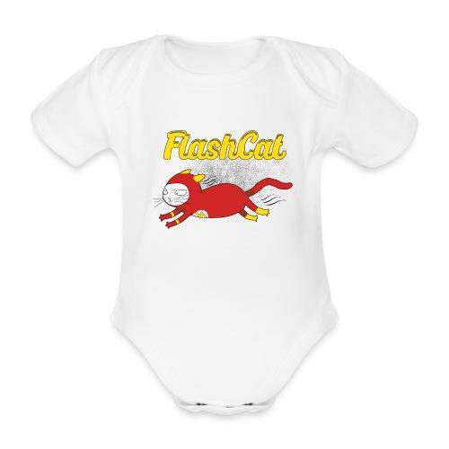 FlashCat Vintage Comic Katze Superheld - Baby Bio-Kurzarm-Body