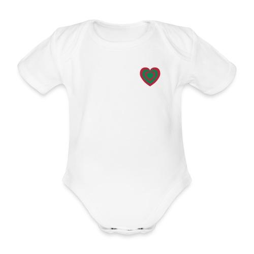 cuore Rosso-Verde - Body ecologico per neonato a manica corta