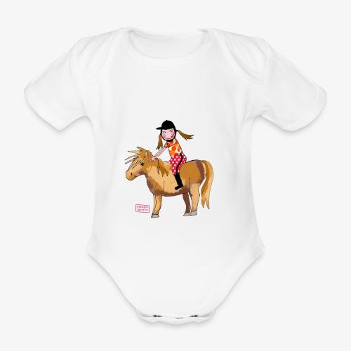 petite fille et poney - Body Bébé bio manches courtes