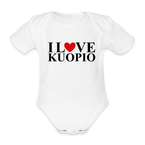I LOVE KUOPIO (koko teksti, musta) - Vauvan lyhythihainen luomu-body