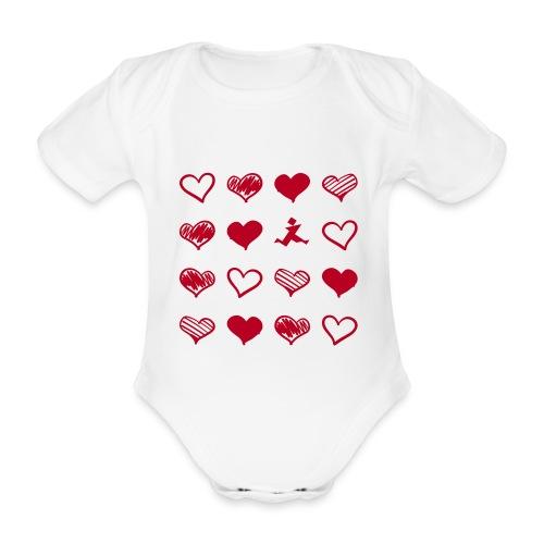 15 Herzen und Tangram - Baby Bio-Kurzarm-Body