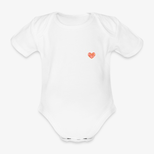Floral Hearts - Organic Short-sleeved Baby Bodysuit