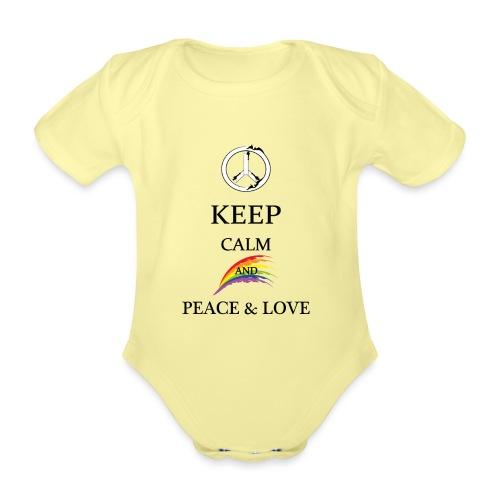 keep calm and Peace & Lov - Body ecologico per neonato a manica corta