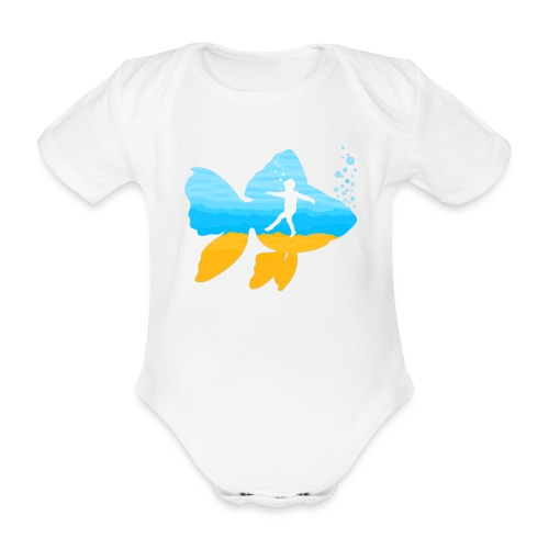 GEVOELIG VISJE - Baby bio-rompertje met korte mouwen