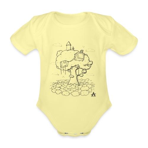 Cabane dans un arbre Sketch Line - Body Bébé bio manches courtes