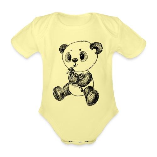 Panda bjørn sort scribblesirii - Kortærmet babybody, økologisk bomuld