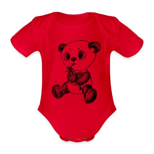 Panda Karhu musta scribblesirii - Vauvan lyhythihainen luomu-body