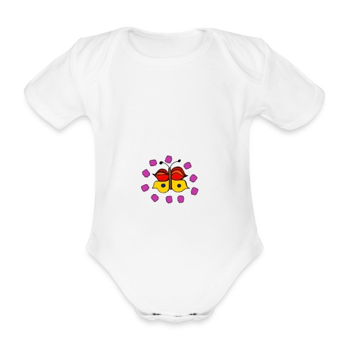 Butterfly colorful - Organic Short-sleeved Baby Bodysuit