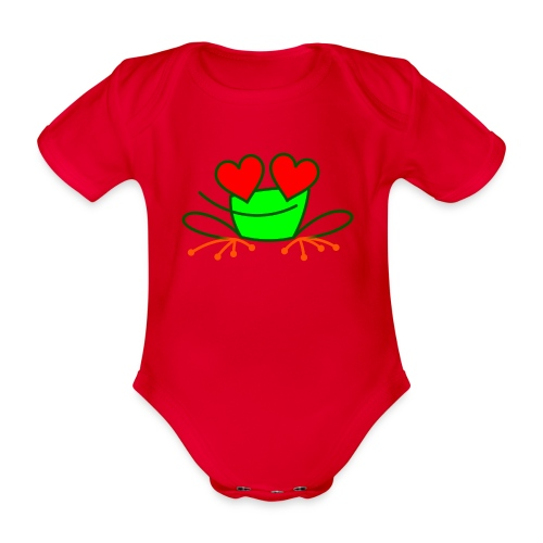 Frog in Love - Organic Short-sleeved Baby Bodysuit