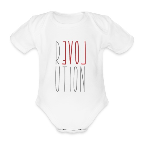 Love Peace Revolution - Liebe Frieden Statement - Baby Bio-Kurzarm-Body