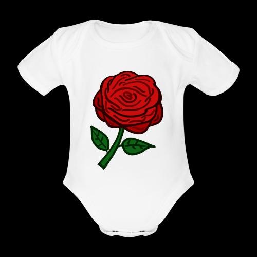 Rote Rose - Baby Bio-Kurzarm-Body