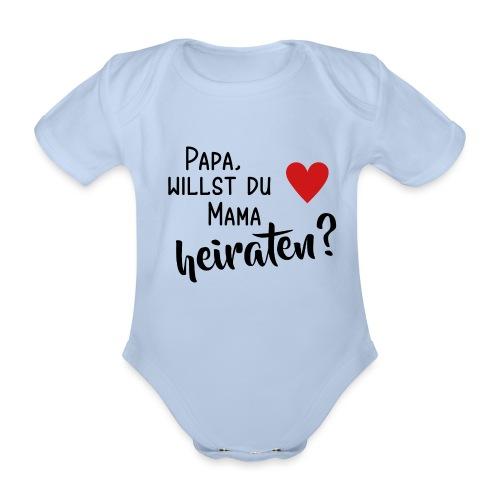 Papa Mama heiraten Baby Body Antrag Hochzeit Herz - Baby Bio-Kurzarm-Body