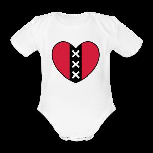 Hart met het symbool van de stad Amsterdam - Baby bio-rompertje met korte mouwen