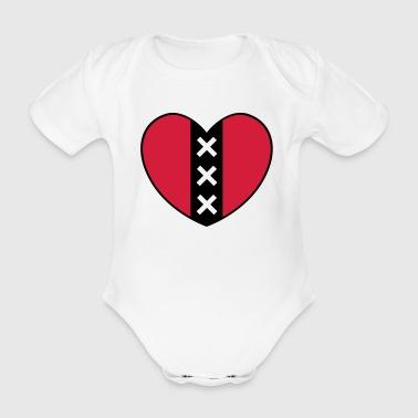 Cuore con il simbolo della città di Amsterdam - Body ecologico per neonato a manica corta