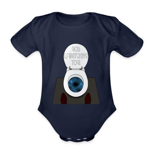God is watching you! - Body ecologico per neonato a manica corta