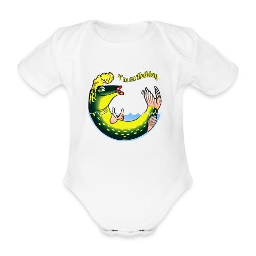 10-39 LADY FISH HOLIDAY - Haukileidi lomailee - Vauvan lyhythihainen luomu-body