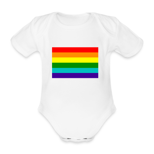 Gay pride rainbow vlag - Baby bio-rompertje met korte mouwen