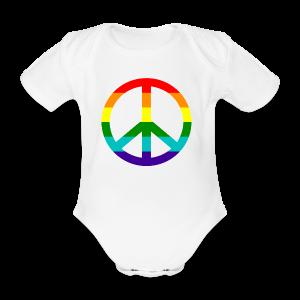 Gay pride peace symbool in regenboog kleuren - Baby bio-rompertje met korte mouwen