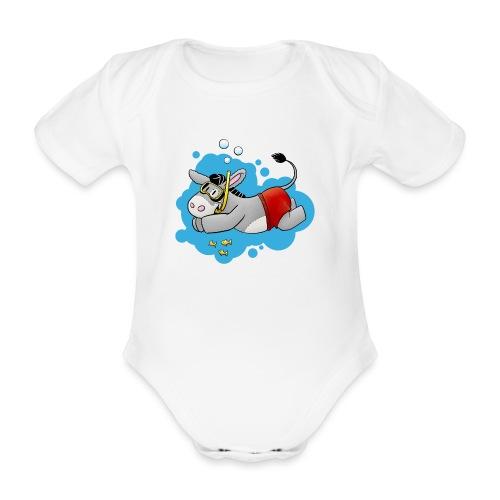 Esel - Kuschelesel geht schwimmen - Baby Bio-Kurzarm-Body