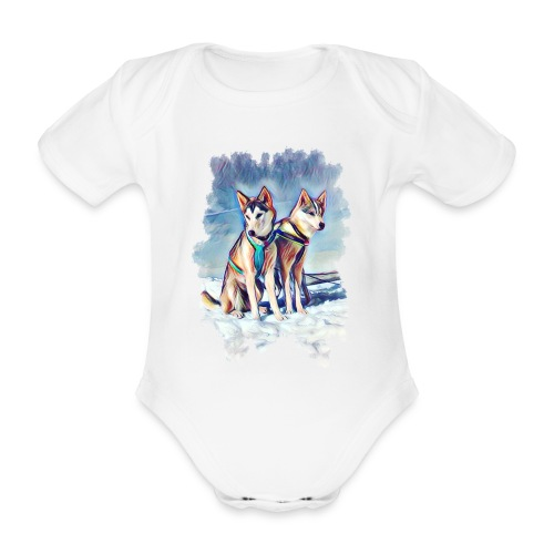 Huskies im Schnee - Baby Bio-Kurzarm-Body