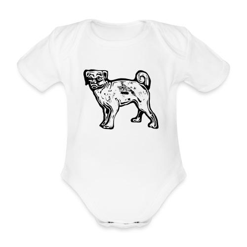 Pug Dog - Organic Short-sleeved Baby Bodysuit