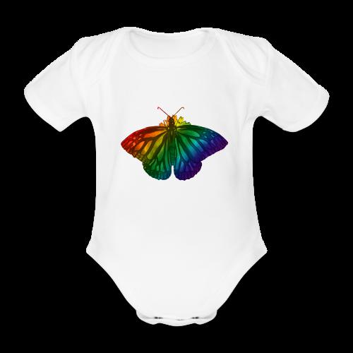 Regenboog vlinder - Freedom, Love en Happiness - Baby bio-rompertje met korte mouwen