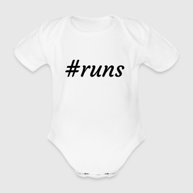 #runs - is running - Organic Short-sleeved Baby Bodysuit