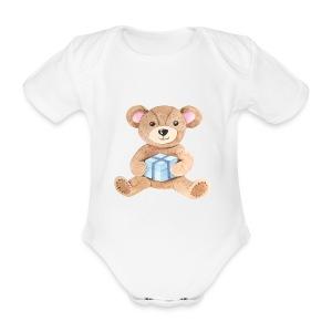Baby Bib Teddy bear with gift - Organic Short-sleeved Baby Bodysuit