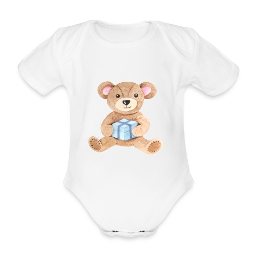 Baby Bib Teddy bear with gift - Organic Short-sleeved Baby Bodysuit